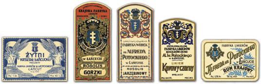 Etykiety wyrobów dawnej Uprzywilejowanej Krajowej Fabryki Likierów, Rosolisów i Rumu Alfreda Potockiego w Łańcucie - też z herbem Pilawa/Fot. Archiwum