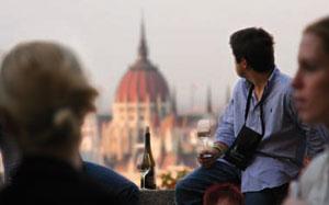Z zamkowych tarasów podziwiać można Dunaj, mosty oraz parlament/Fot. W. Giebuta