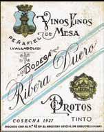 Pierwsza etykieta z 1927 roku, na której pojawiła się nazwa Ribera Duero