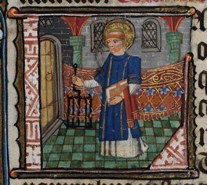 Św. Wawrzyniec na średniowieczniej miniaturze (ok. 1390) | National Library of Wales / Wikimedia Commons