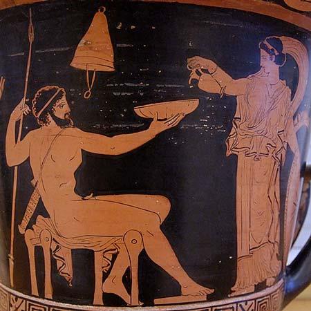 Kobieta nalewająca wino | krater, Apulia, 410–400 p.n.e. | Wikimedia Commons / Regional Archaeological Museum Antonio Salinas