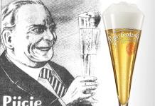 reklama z okresu międzywojennego oraz współczesne szkło do piwa grodziskiego | il. WikiCommons/materiały prasowe
