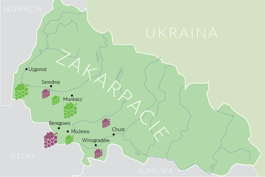 Zakarpacie, Ukraina | mapa © Czas Wina