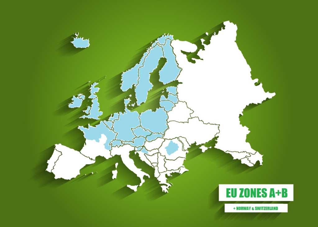 Na niebiesko zaznaczone są kraje Europy, które należą do stref A i B. | mapa © Czas Wina