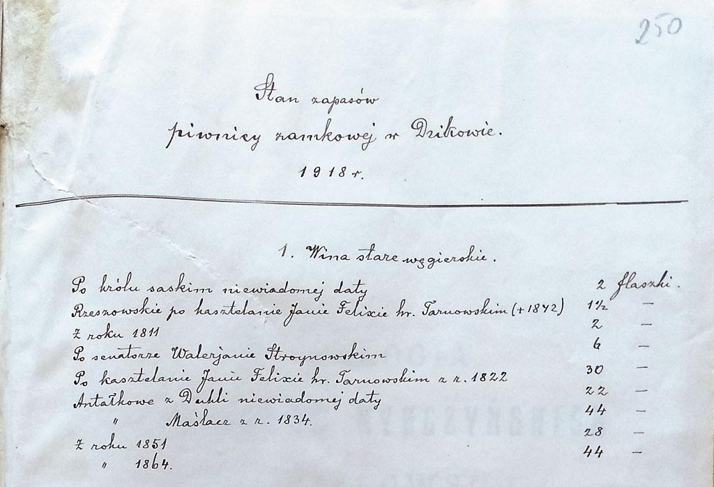 O tym, że wino miało swoje miejsce w tradycji rodzinnej Tarnowskich świadczy zachowany spis starych win z piwnicy dzikowskiej z roku 1918, sporządzony przez dr Marczaka, wspomnianego w omawianym liście. | fot. AGAD