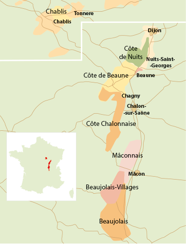 Okręgi winiarskie Burgundii