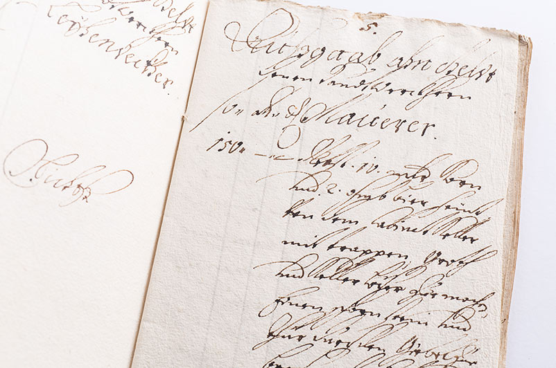 """Dokument z 1716 z zapisaną nazwą """"cabinet""""."""